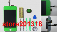 Wholesale New Green For ipod Touch LCD Display Touch Screen Glass Digitizer Assembly Home Button Full set Tools And Adhesive Sticker