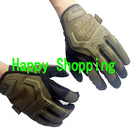 Wholesale Sand color Mechanix M Pact Military Tactical Airsoft Glove Racing Hunting Cycling Motorbike Bicycle Bike Full Finger Gloves S M L XL