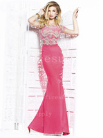Sweep Train Hollow Trumpet/Mermaid Sexy Chiffon A Line Lace Evening Dresses with Bateau Neck Cap Sleeves Top Full Rhinestone Bead Glitz Mermaid Formal Prom Gown TE 92268
