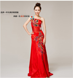 Wholesale 2013 One Shoulder Phoenix Chinese cheongsam dress embroidered small tail autumn long section of the bride dress toast clothing