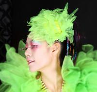 Wholesale 20pcs color options Hip hop jazz singer DS fashion beautiful colorful gauze Head flowers fluorescence Hair accessories Headwear
