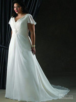 Wholesale 2014 V neck Short Sleeve Chiffon Ruffle Beaded Sweep Train Cheap Sexy Plus Size Wedding Dresses Gown