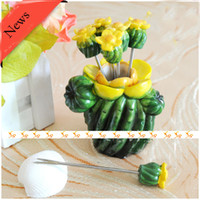 Wholesale Ceative News Arrivals Cactus Design Seafood Forks For Thanksgiving Day Gifts FF808