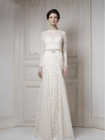 Wholesale 2014 NEW Best Selling Bateau Ivory A line Long Sleeves Sash Cool Muslim Lace Bridal Gown Wedding Dresses