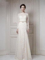 Wholesale Best Selling Bateau Ivory A line Long Sleeves Sash Cool Muslim Lace Bridal Gown Wedding Dresses