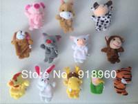 Teddy Bear White Stuffed & Plush,Soft,Sounding Free Shipping Baby Kids Toys Children Gift, Plush Toy Finger Puppets Tell Story Props12 pcs lot (12 animal group) Animal Doll