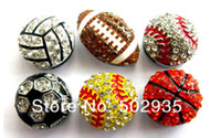 Wholesale 8mm slide rhinestone ball charms football rhinesotne basketball rhinestone baseball rhinestone soccer