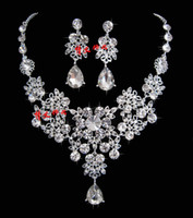 Wholesale Charming Rhinestone Swarovski Crystal Bridal Jewelry Bridal Necklace Earrings Sets Hair accessories necklace earrings tiara