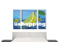 Art Deco 110V LED Stylish Lime Wall Art Canvas Print Set Modern Painting