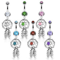 Wholesale Nickel free Dream Catcher Dangle Hot Belly Rings Crystal Gem Fashion Body Piercing Jewelry Surgical Steel G mix B48