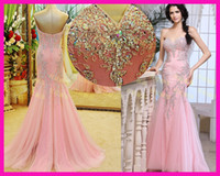 Wholesale 2014 New Arrival Pink Real Beaded Lace Women Mermaid Formal Evening Gown Prom Dresses E4043