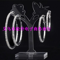 Wholesale Paparazzi Basketball Wives silver Hoop Earrings online Crystal Rhinestone women Earrings size to mm can choose