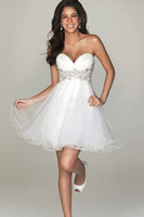 Wholesale Cute Hot Sexy A Line Strapless White Sweetheart Short Mini Tulle Appliques Backless Ruched Tiered Homecoming Cocktail Party Dress
