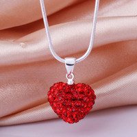 Wholesale Dazzling Shamballa Jewelry Silver MM Red Heart Clay Disco Bead Crystal Pendant Necklace quot