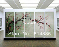 Graphic vinyl PVC Animal The Plum Blossom, Huge 5 Panels Handmade Modern Flower Oil Painting on Canvas Wall Art ,Top Home Decoration JYJLV208