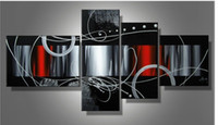 Wholesale hand painted oil wall art red back clouds Home Decoration Modern Abstract Oil Painting on canvas set mixorde Framed