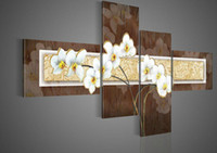 Wholesale hand painted oil wall art Quietly elegant white flowers decoration abstract Landscape oil painting on canvas set mixorde
