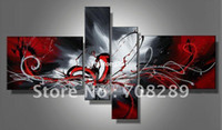 Wholesale oil paintings on canvas red black white home decoration Modern abstract Oil Painting wall art B226