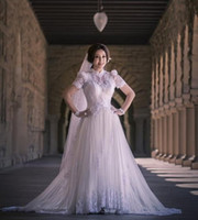Castle Autumn/Spring Modern Celebrity Dress Empire Free Shipping Ball Gown White Floor Length Corset High Collar Short Sleeve Applique Organza Wedding Dresses