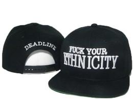 Wholesale COOL black FUCK YOUR ETHNICITY Deadline Snapback Hats Famous Brand Hip Hop Snapbacks Baseball Sports Caps For Men Women Sun Cap Hat DD
