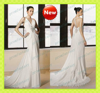 Beach Autumn/Spring Sexy Long Greek Goddess Grecian Sheath Wedding Dresses Summer Fall Beach Bridal Gowns Beaded V-Neck Backess Formal Evening Party 2013 Cheap Gowns