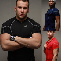 Wholesale 2013 New Close fitting Sport Tshirt Fitness Zipper T shirt Stand collar Speed Dry Cothing Training Suit