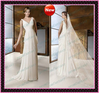 Beach Autumn/Spring Sexy Sweep Train Goddess Greek Grecian Beach Wedding Dresses 2013 V-Neck Ruched Sheath Cowl back Cheap Bridal Reception Rehearsal Party Dresses