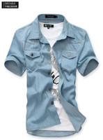 Wholesale Men s wear Boutique of foreign trade cotton short sleeve washed denim shirt mens fashion clothing CD01