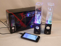 Wholesale Dancing Water Speaker Colorful a pair led usb Music Fountain Speaker Soundbox Boombox for MP3 Mobile Phones Computer Black White