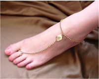 Wholesale Wedding pair Anklets Foot Jewelry Barefoot Sandals Stretch O Chains Sand Beach Anklet with Toe Rings