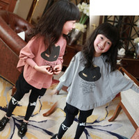 children fashion garment - Children Tee Shirts Girls Fashion Bat Sleeve Tops Baby Girls Hat Printed Long Sleeve T shirt Kids Autumn Garment Hoodies Clothes