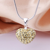 Wholesale Fashion Shamballa Necklace Silver MM Light Yellow Clay Crystal Heart Pendant Necklace inch