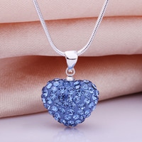 """Women's Heart, Love Silver Plate/Fill Baby Blue Pave Disco Crystal Heart Pendant Charm Shamballa Necklace 18"""" 925 Silver Jewelry 48pcs Mixed"""