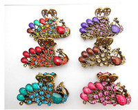 Wholesale 4cm vintage hair Clamps clasps claw clips Jewelry alloy rhinestone crown hair claw hair clip hair accessory mixed