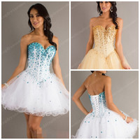 Wholesale Ball Gown Corset Homecoming Dresses Shiny Beaded Sequins Little White Gold Tulle Custom Made Bling Cocktail Prom Gowns Cheap Hot