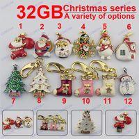 Wholesale 32GB Christmas gifts series Christmas tree Santa Shoes snowman USB Flash Drives Flash Memory Stick Pendrives