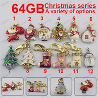 Wholesale 64GB Christmas gifts series Christmas tree Santa Shoes snowman USB Flash Drives Flash Memory Stick Pendrives L018G