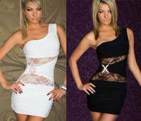 Wholesale NEW Sexy Hollow Lace SEE Through Mini Dress Women Lady Night Club Cocktail Dress