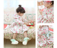 Wholesale High Quality Korean Brand Children Spring Fall Floral Dress Japanese Girls Long Sleeve Dress Year Baby Princess Dresses Kids Clothing