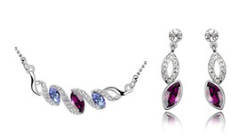 Wholesale Austrian crystal pony eyes necklace and earring jewelry sets for wedding