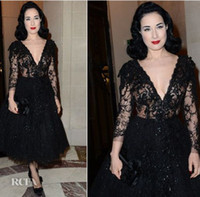 A-Line Classic Lace Dita von Teese In Elie Saab Couture Fashion Week After Party Dress Deep V-neck Long Lace Sleeve Exquisite Evening Celebrity Dress dhyz 03
