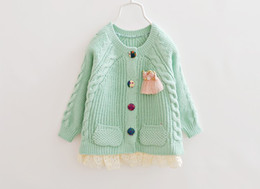 Wholesale Best Quality Best Colour Autumn Children Sweater Shag Wool Lace Girls Sweater Cardigan Year Baby Kids Knitting Shirt QS497