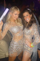Bling Bling Cocktail Dresses Nude Long Sleeves Beads Sequins...