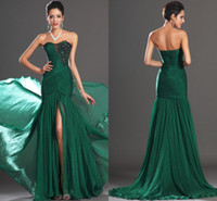 Sexy emeralds - 2014 Sexy Sweetheart Appliques Front Slit Floor Length Emerald Green Mermaid Prom Dress Evening Gown