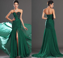 Wholesale 2014 Sexy Sweetheart Appliques Front Slit Floor Length Emerald Green Mermaid Prom Dress Evening Gown