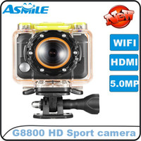 Wholesale 1080P Full HD Sports Camera go pro Ambarella G8800 H M pixel with WIFI control by phone watch waterproof free ship