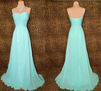 Wholesale Custom Made Floor Length Pleated Chiffon Sweetheart Light Blue Bridesmaid Dresses Wedding Party Gown Evening Dress DH1226