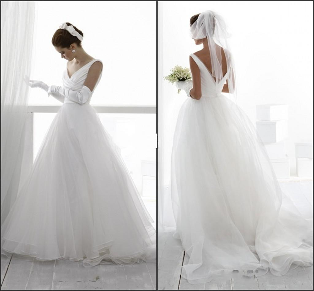 2014 sexy dhgate v neck wedding dresses sleeveless ball gown a line