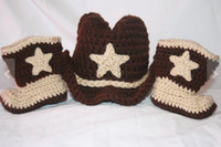Wholesale 2013 New Arrival Baby crochet set children handmade cowboy hats and boots sets kids brown cowboy caps shoes photography props