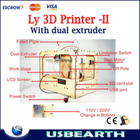 brand new   Hot 2013!! Free shipping Ly 3D Printer Updating Type SD Card pringt Dual extruder open source ABS extrusion machine